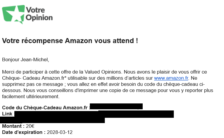 Votre Opinion paye en carte cadeau Amazon