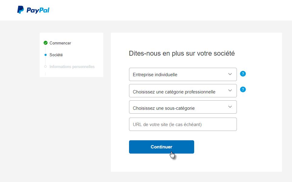Ouvrir un compte PayPal Business