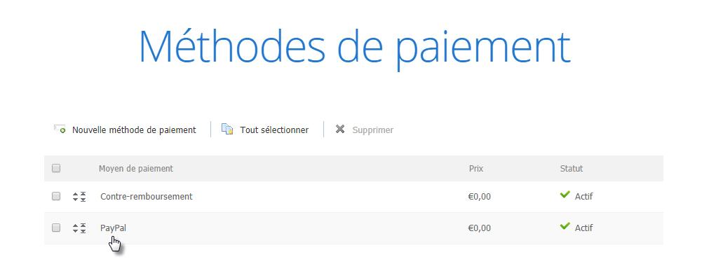 Configurer PayPal comme moyen de paiement